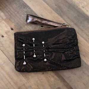 Bakers gold and black clutch